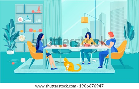 Creative Hobby in Needlework Club for Women. Girls Friends Group Embroider on Hoop Sitting at Table with Colorful Yarn. Fancywork, Cross embroidery. Home Interior. Cartoon Flat Vector Illustration Stock photo ©