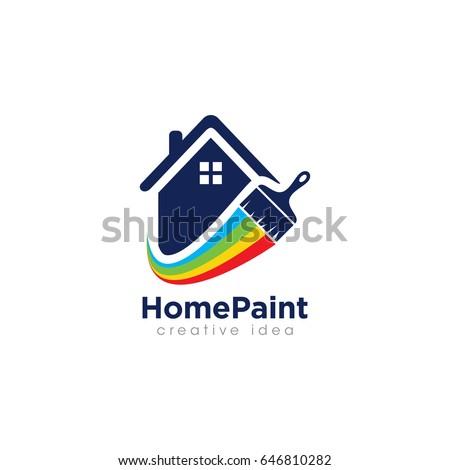 Creative Home Paint Concept Logo Design Template