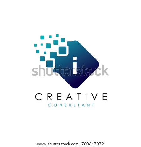 creative i data logo  i letter