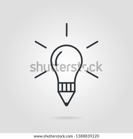 Creative Icon bulb in line style on white