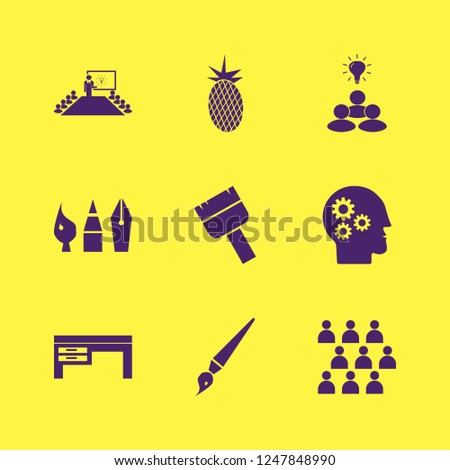 creative icon. creative vector icons set brush, gear head, drawing painting tools and paint brush