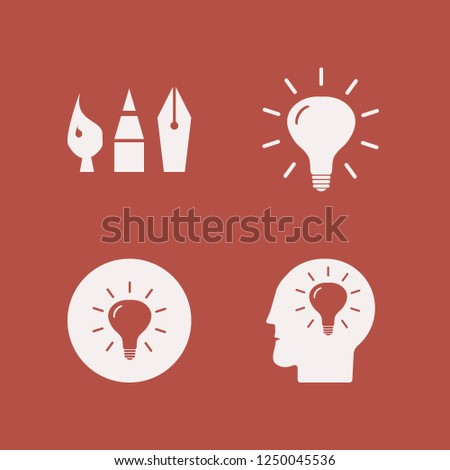 creative icon. creative vector icons set drawing painting tools, bulb and bulb head