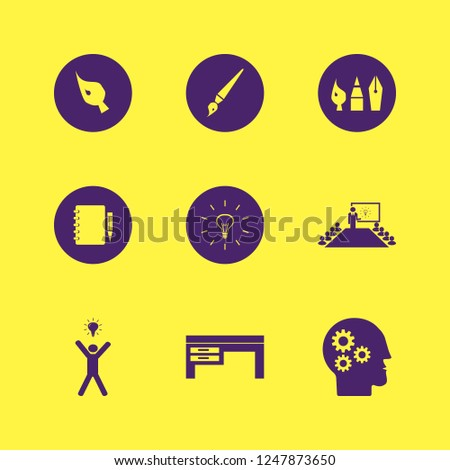 creative icon. creative vector icons set present new idea, desk, drawing painting tools and notebook pencil