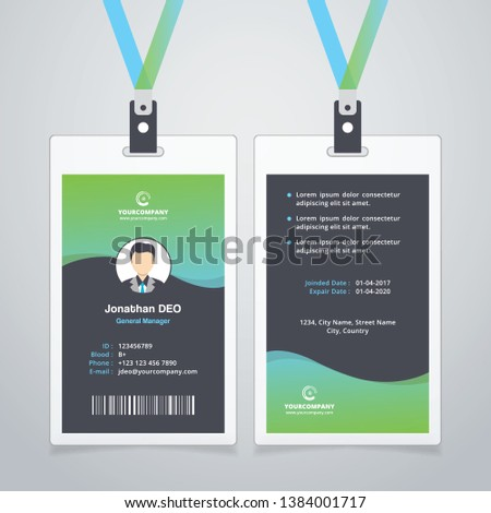 Creative ID Card. Green Color
