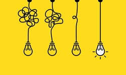 Creative idea banner. Innovation ideas. Bulb icon. Vector EPS 10. Isolated on white background