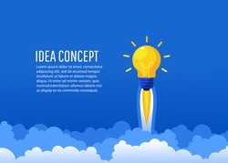 Creative idea. Bright luminous bulb in the form of a rocket flies up with text. Startup, Brainstorm, creating a new concept, flat lay style, vector illustration