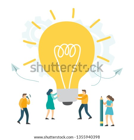 Creative Idea, Business Innovation, teamwork, searching for new solutions, small people look at the big light bulb in search of ideas. Vector illustration