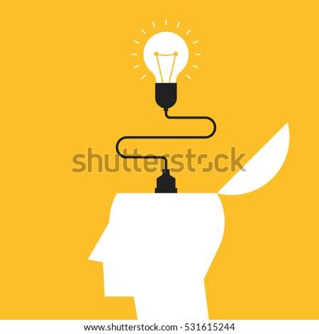Creative idea concept, inspiration process, light bulb flat design vector illustration