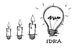 Creative idea concept.Light bulb  line drawing .Creative thinking and unique idea.