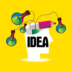creative idea concept with human head vector