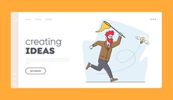 Creative Idea, Financial Success, Opportunity Wealth Landing Page Template. Businessman Character Chasing Flying Light Bulb with Butterfly Net. Business Man Inspiration. Linear Vector Illustration