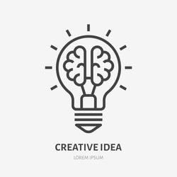 Creative idea flat line icon. Brain in lightbulb vector illustration. Thin sign of innovation, solution, education logo.