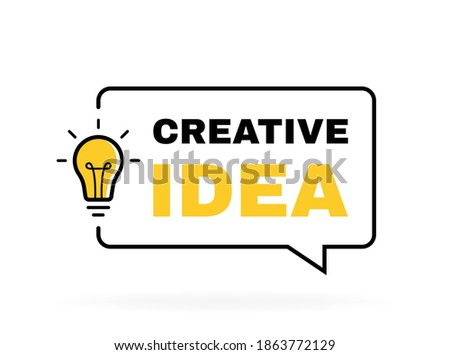 Creative Idea geometric message bubble with light bulb emblem. Banner design for business and advertising. Vector illustration. Сток-фото ©