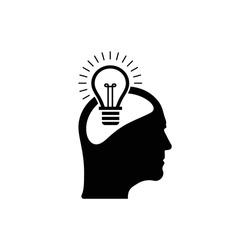 Creative idea icon  , bulb within human head icon design vector
