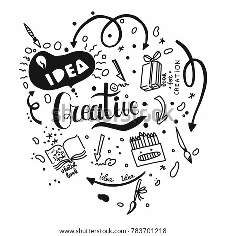 Creative idea in creation and art. Doodling on white background. Hand drawn elements. Logo for painting and drawing concepts.