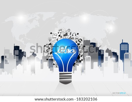 Creative idea in Light bulb as inspiration concept with drawing chart and graphs business strategy plan concept idea (building background), vector illustration