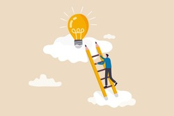 Creative idea, inspiration or imagination to create new innovative work, opportunity or wisdom concept, businessman creative guy climbing ladder built from pencil to upper cloud to find lightbulb idea