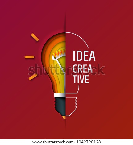 Creative idea, invention, inspiration, innovation, solution. Paper cut lamp. Conceptual illustration. Banner. Card.