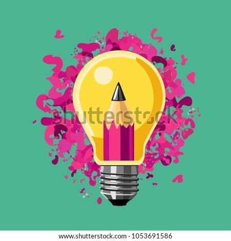 Creative idea. Lamp bulb and pencil. Art vector illustration.