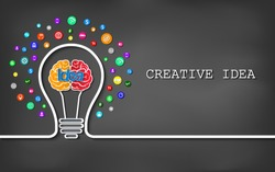 Creative idea light bulb brain icon. on blackboard background. vector illustration