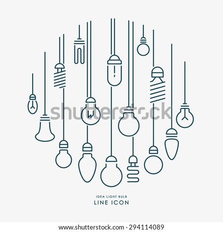 creative idea light bulb line icons infographic vector