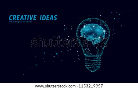 Creative idea light bulb night star sky. Low poly polygonal business brainstorm startup dark blue space modern geometric 3d lamp. Invention brain shape inspiration banner vector illustration