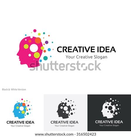 Creative idea logo,Brain logo,Idea,Education logo,learning,Vector logo template