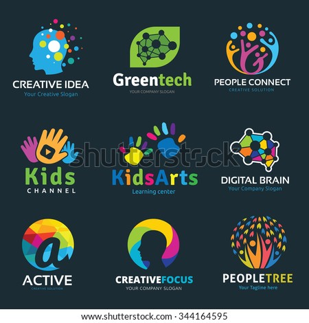 Creative idea logo collection, Vector set of idea sign, Digital learning, People, Green technology, Family Care brand identity.