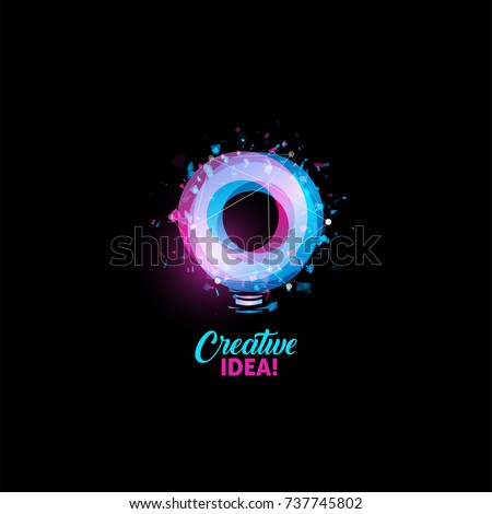 Creative idea logo, light bulb abstract vector icon. Isolated pink and blue round shape, stylized lamp  with text. Digital innovation technology vector illustration.