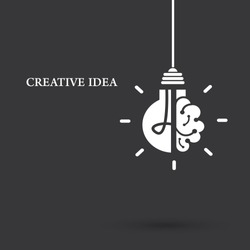 Creative idea Logo with a half of light bulb and brain isolated on white background. Symbol of creativity. EPS 10