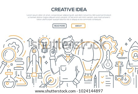 Creative idea - modern line design style illustration on white background. Banner with heading, place for your text, information. An image of an inspired person, businessman. Flash of inspiration