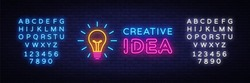 Creative Idea Neon Sign Vector. Creative Idea neon logo, design template, modern trend design, night neon signboard, night bright advertising, light banner, light art. Vector. Editing text neon sign