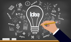 Creative idea on Light bulb and drawing icon on a Blackboard. infographic. Vector illustration.