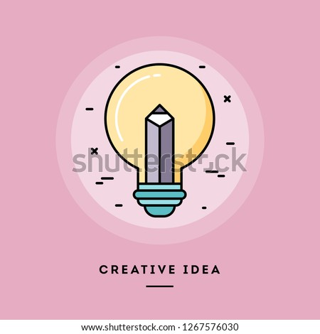 Creative idea, pencil in a light bulb, flat design thin line banner, usage for e-mail newsletters, web banners, headers, blog posts, print and more. Vector illustration.