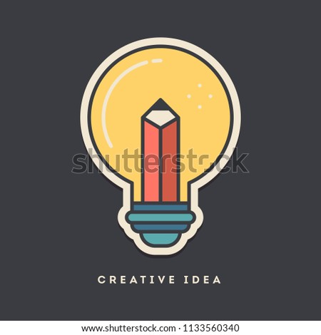 Creative idea sticker. Thin line, flat design style. Vector illustration