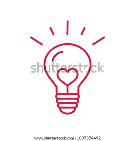 creative idea symbol. lightning bulb with heart red line icon on