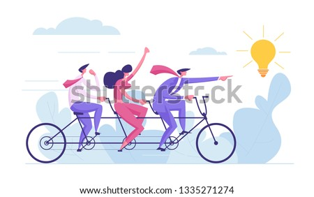 Creative Idea Teamwork Concept. Business Team Riding Tandem Bicycle. Businessman and Businesswoman Characters on Bike. Cooperation Leadership Metaphor. Vector cartoon illustration