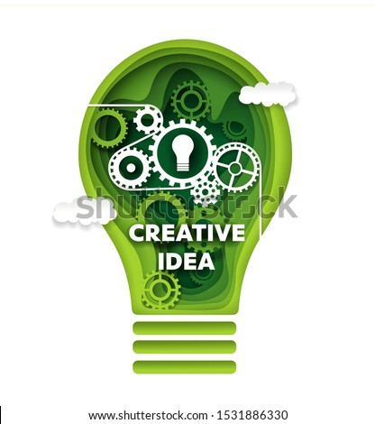 Creative idea, vector concept illustration in paper art craft modern style. Papercut green gear light bulb. Innovation, creative thinking, idea generation.
