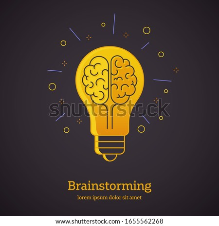 Creative Idea - Vector design style symbol of creativity, creative idea, thinking. Lightbulb representing ideas isolated on dark background.