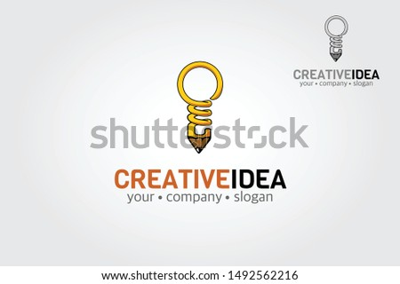 Creative Idea vector logo template. An illustration of pencil idea. Useful as icon, illustration and background for business, marketing, sales promo or ideas concept.