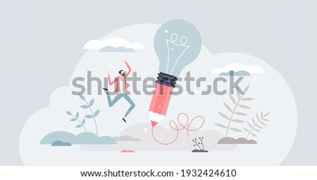Creative idea writing as innovative lightbulb on pencil tiny person concept. Project development with imagination thinking and creativity approach vector illustration. Inspiration and invention scene.