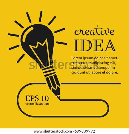 Creative ideas concept. Pencil with light bulb, silhouette icon. Innovation, solution. Success in education, art, work project. Vector illustration flat design. Isolated on yellow background.