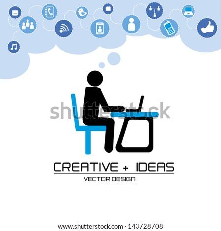 creative ideas over white background vector illustration