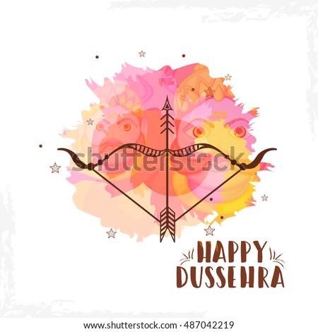 Creative illustration,banner or poster of dussehra with ten headed Ravana.