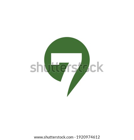 Creative illustration modern number Seven sign geometric logo design template Foto stock ©