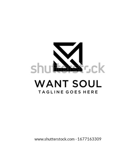 Creative Illustration modern W,S sign geometric logo design template Zdjęcia stock ©