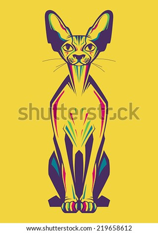 creative illustration of a cat