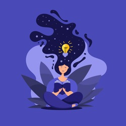 Creative illustration of cute girl in lotus position reads a book. Idea generation concept.