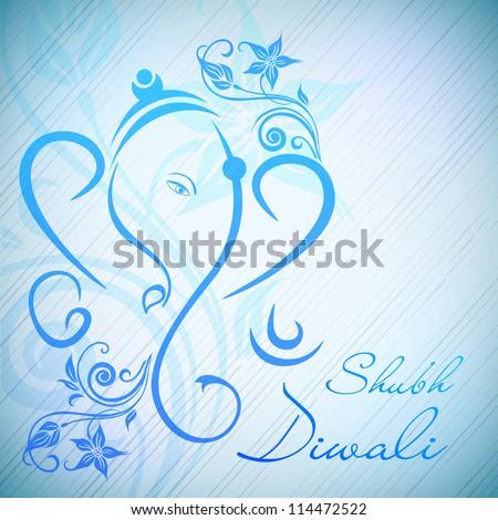 Creative illustration of Hindu Lord Ganesha on floral background. EPS 10.