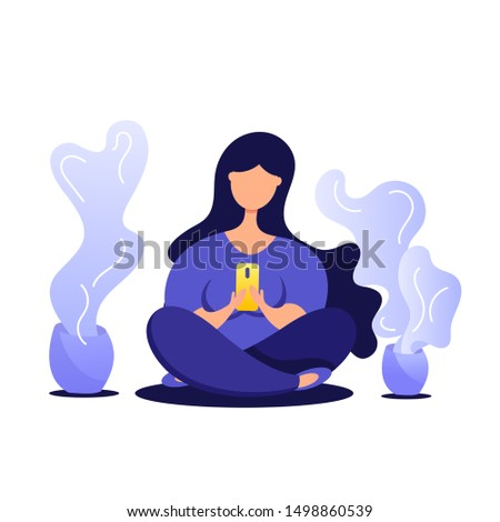 Creative illustration of young girl using phone, sitting legs crossed and chatting on a mobile phone.